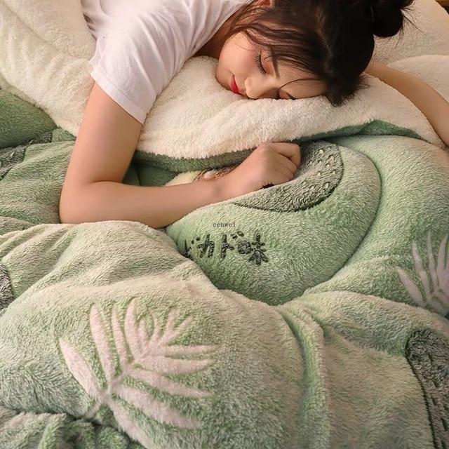 Фото супер теплое одеяло из ягненка зимнее двухстороннее искусственное