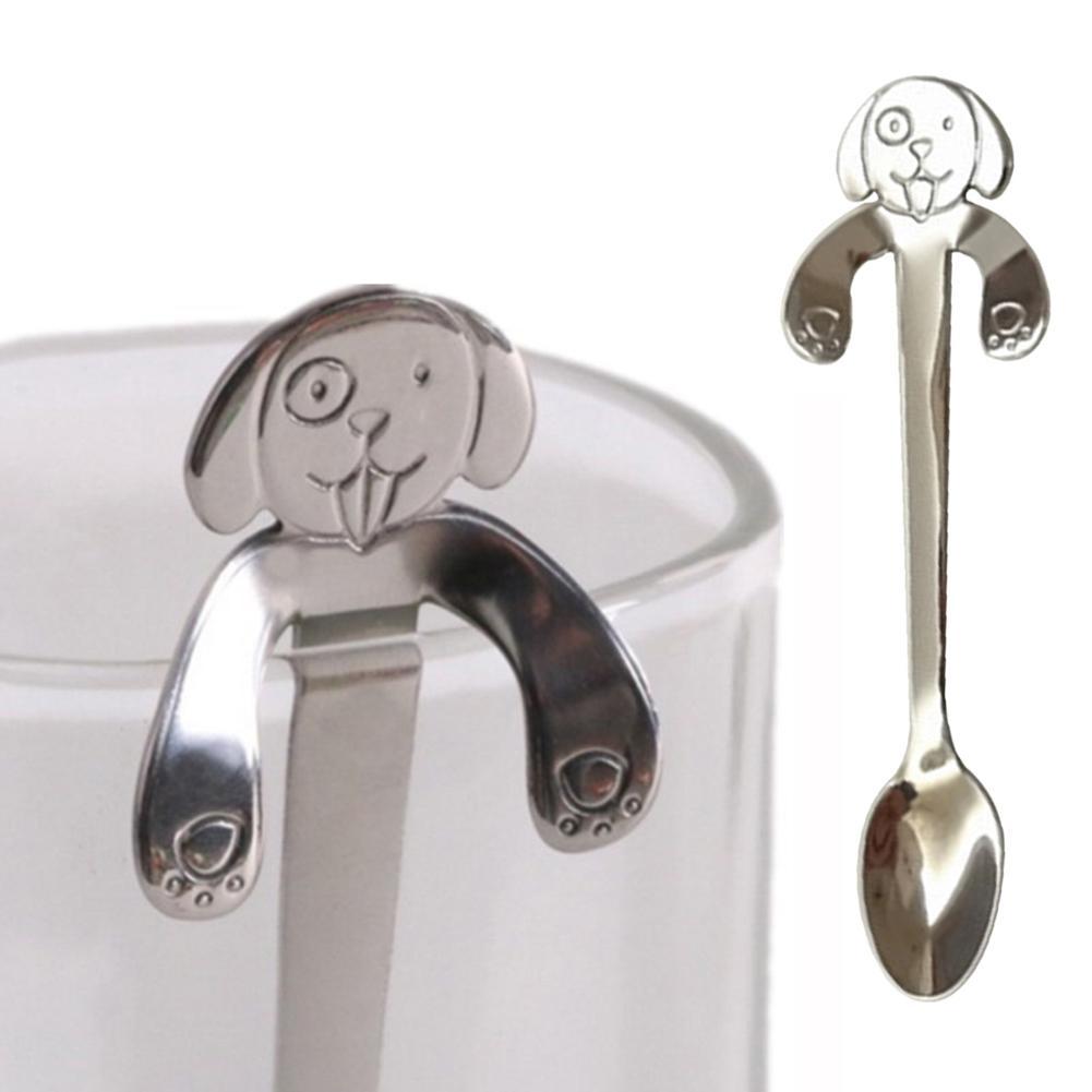 Экологичная креативная подвесная чашка из нержавеющей стали для собак, Обнимание кофе, чая, супа, сахара, ложка, чайные ложки, кухонная посуд...