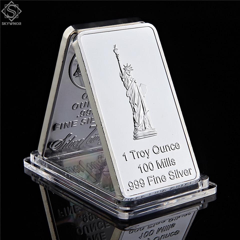 USA Eagle Statue of Liberty Gedenk Münzen Vereinigten State Rechteck Silber Souvenir Medaillon Token Bar