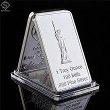 Eua águia estátua da liberdade moedas comemorativas estados unidos retângulo prata lembrança medalhão token barra
