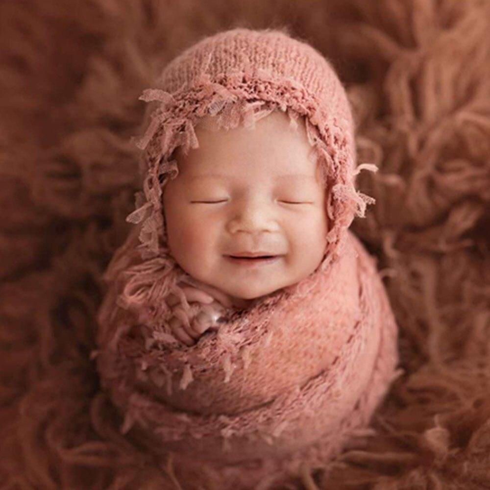 fotografia recem nascido aderecos acessorios mohair macio chapeu conjunto envoltorio do bebe foto aderecos estudio infantil