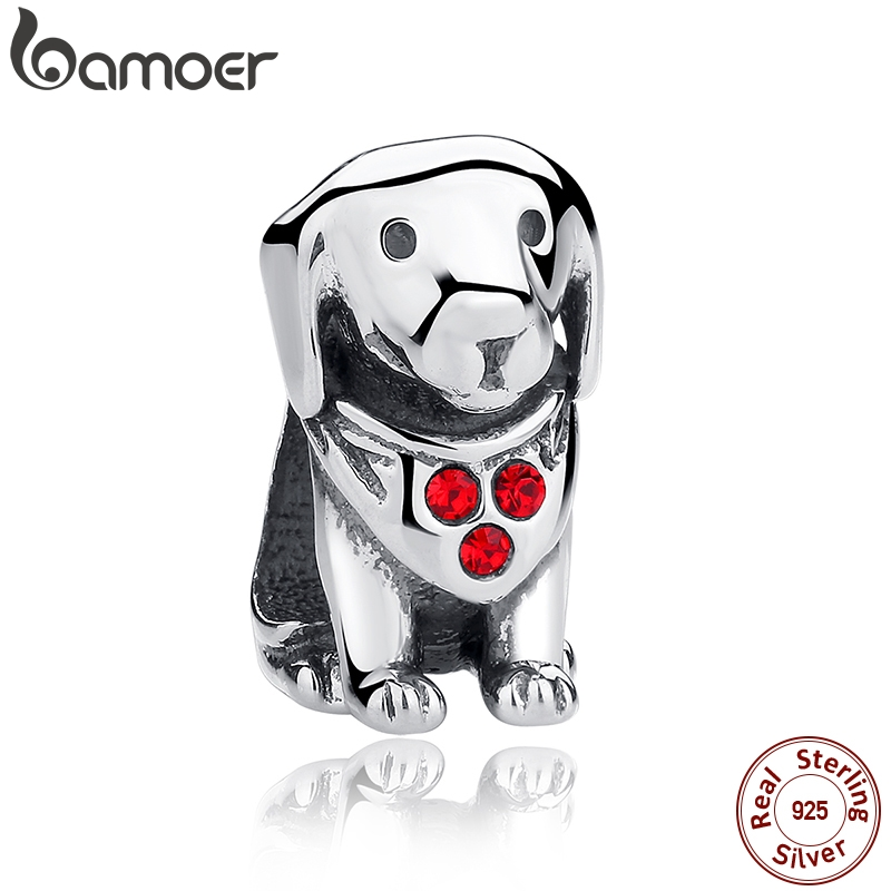 BAMOER 925 Sterling Silver Dog Animal Beads Charms With Red Created Stone for DIY Bracelet Jewelry Making Baby Gift SCC016(China)