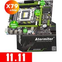 Atermiter x79 x79g placa mãe lga 2011 usb2.0 sata3 suporte reg memória ecc e processador xeon e5 4ddr3