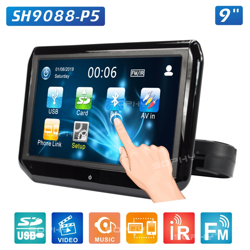 9 Inch Or 10.1 Inch Car LED Pillow Headrest Monitor Back Seat Multimedia Player MP4 MP5 Mirror Link Detachable Touch Screen