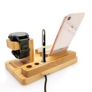 Image 2 - Fenix 6 Bamboo Wood Fenix Charger Charing Dock Holder for Garmin Fenix 5/5X/5S/Desk Station Organizer with Charing Cable
