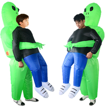 Adult Kids Inflatable Costume Monster Green Alien Carrying Human Cosplay Halloween стоимость