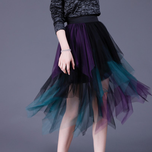Image 3 - SETWIGG מתוקה רב צבע טול טלאים ארוך סדיר חצאיות אלסטי להקת המותניים אונליין צבעוני רשת קפלים אמצע עגל חצאיות