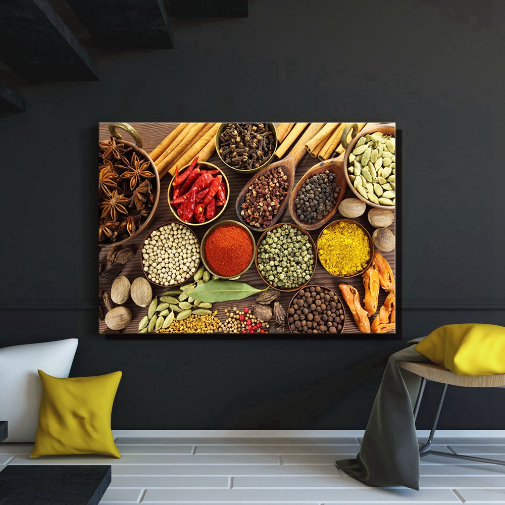 Brown Various Colorful Herbs And Spices Wall Art Canvas Painting Picture Art Print Food Artwork for Kitchen Home Decor Wholesale in Painting Calligraphy from Home Garden