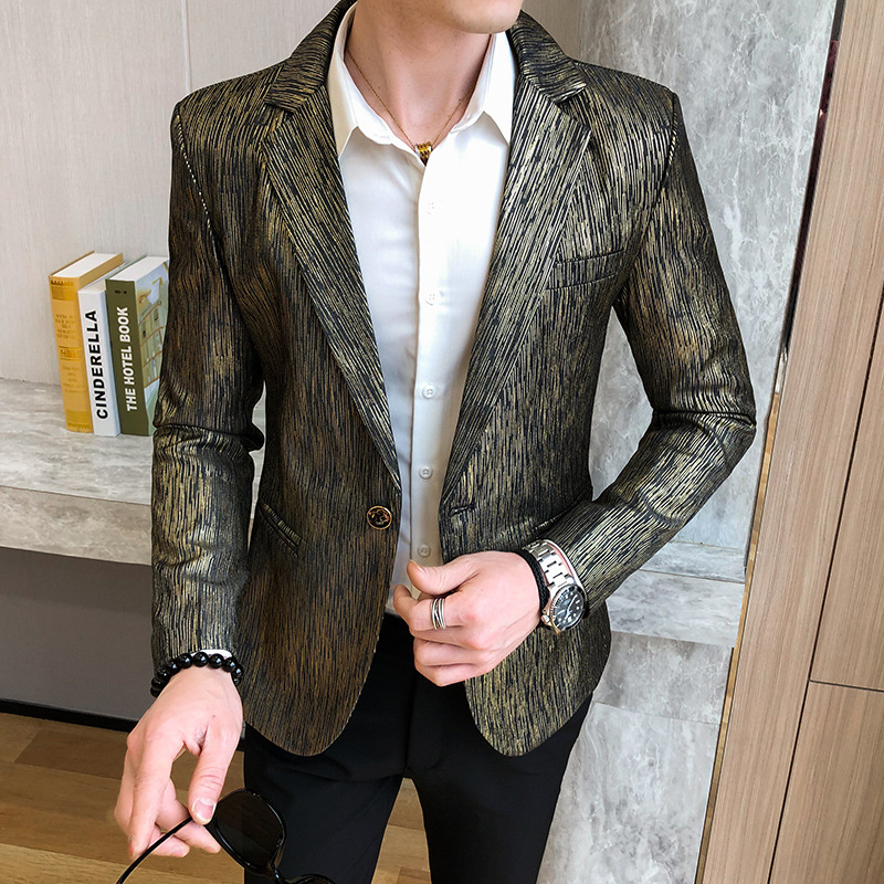 BOBO 2020 Spring Men Casual Solid Color Blazer Youth Trend Handsome Slim Fit Hidden Stripes Single West Blazer