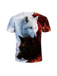 T-Shirts Men Camiseta Short-Sleeve Wolf Drop-Ship Printed Round Casual Fashion Lovers