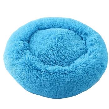 Fluffy Pluche Donut hondenbed kleur blauw 1