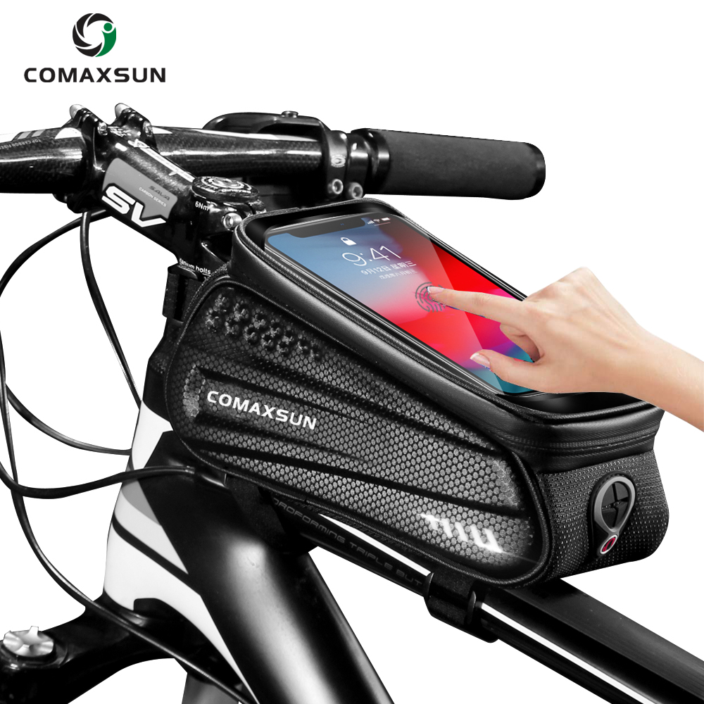 Bicycle Cycling Bike Front Top Tube Frame Bag Phone Holder Pouch with Rain Coat