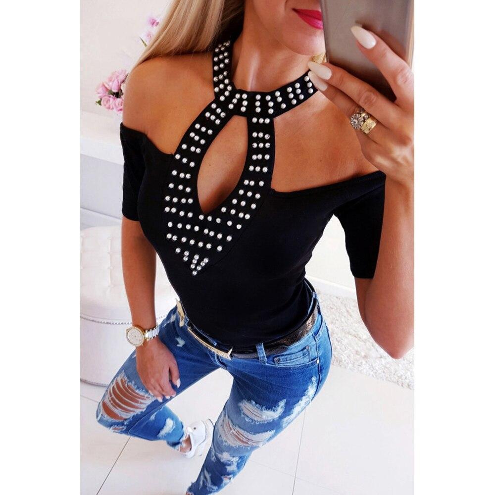 Ladies Tops Rhinestone Women Tight Off Shoulder Blouse Summer Fashion Ladies Halter Diamonds Sexy Slim Shirt Blouses Blusa D35