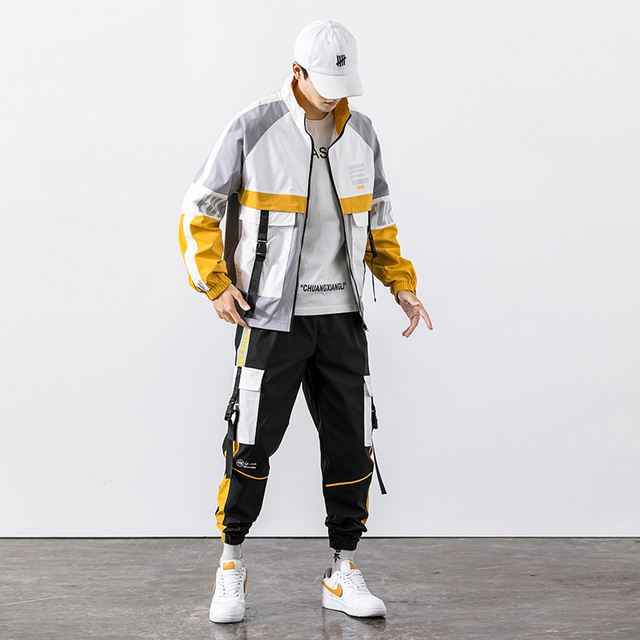 2021 Hip Hop Workwear jacket Mens Tracksuit Jacket+Pants 2PC Sets baseball loose Zipper Ribbons Coat & Long Pants Mens Clothes 5