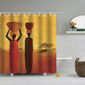 Image 2 - Dafield sunset shower curtain african animals  elephant black shadow bathroom shower curtains waterproof fabric