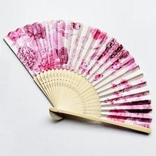 Abanico de flores plegable de bambú Vintage, abanico sólido de fiesta de baile chino para fiesta, flor de bambú personalizada al por mayor