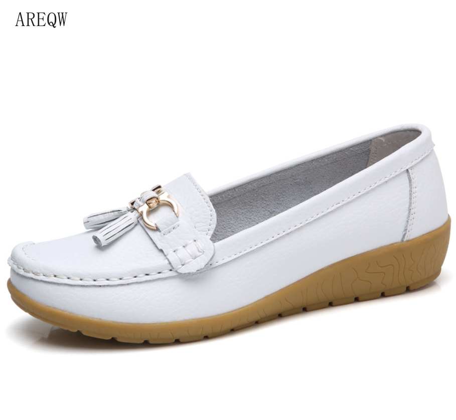 Women Shoes Slip On Genuine Leather Shoes Flats Loafers Flat Shoes Comfortable Women Summer Shoes Plus Size 35-44