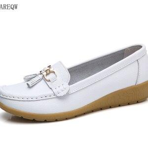 Women Shoes Slip On Genuine Le