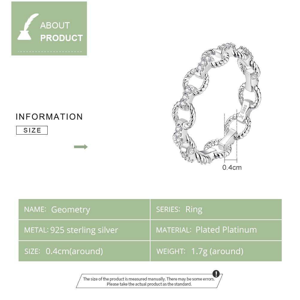Bamoer גיאומטרי פשוט שרשרת Pettern אצבע טבעות לנשים העמודים Stackable טבעות 925 כסף סטרלינג תכשיטים SCR576