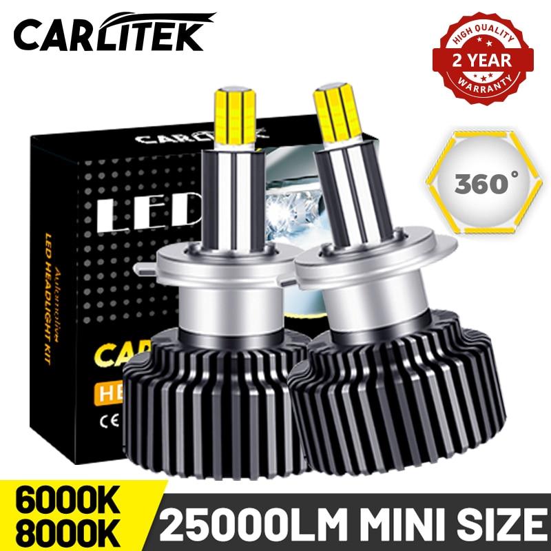 CARLITEK H11 H1 H7 phare Led ampoule Mini taille pour Auto 9012 9005 9006 H8 H9 voiture lumière universelle HB4 HB3 lampe 360 ° Super lumineux