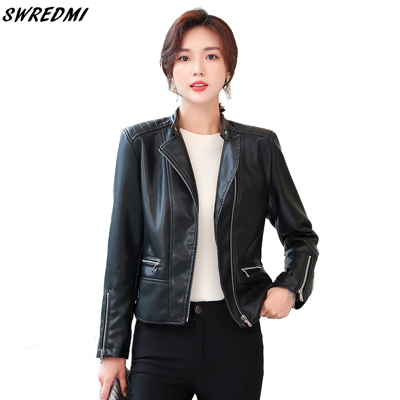 SWREDMI Spring   Leather   Jacket For Women Black Jacket Motorcycle   Leather   Coat Female Autumn Winter High Quality   Suede   Clothing