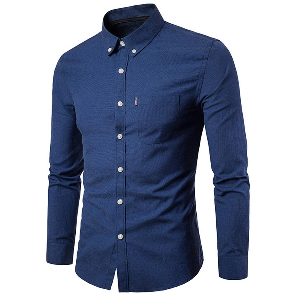 2020 Lowest Price  Men Solid Color Turn Down Collar Long Sleeve Shirt Slim Button Pocket Work Top Free Shipping