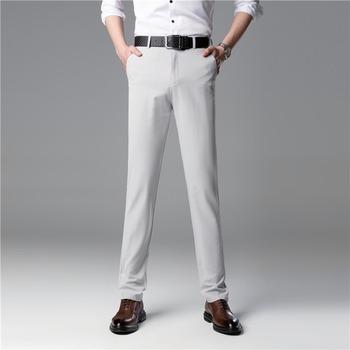 Spodnie garniturowe męskie spodnie wizytowe letnie męskie biznesowe spodnie na co dzień męskie spodnie garniturowe klasyczne proste luźne spodnie marynarskie męskie spodnie tanie i dobre opinie FAVOCENT 20-0518SF Poliester Mieszkanie Smart Casual Zipper fly Thin section Straight summer No iron treatment