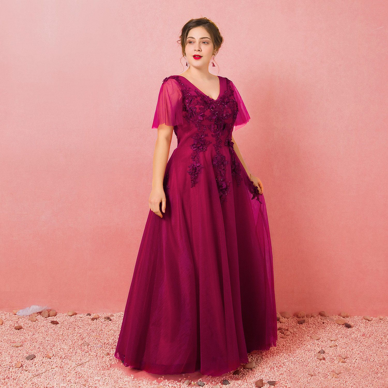Evening Dresses 2019 Fashion A-line V-neck Natural Floor-length Lace-up Llusion Party Gown