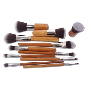 Image 5 - 11pcs Makeup Brushes Set Natural Bamboo Powder Foundation Brush Contour Conclear Face Make Up Brosse Cosmetic Pincel Maquiagem
