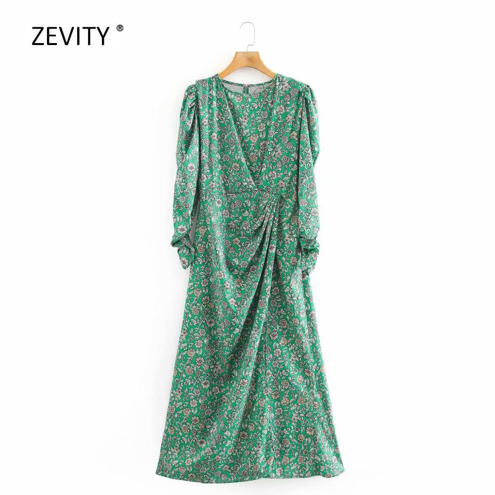 New Women Elegant O Neck Floral Print Pleats Decoration Midi Dress Female Retro Puff Sleeve Vestidos Chic Leisure Dresses DS3873