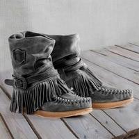 Femmes mode rétro bottes dames Style britannique givré gland bottes courtes dames daim cuir plat bottes décontractées 2019 nouveau