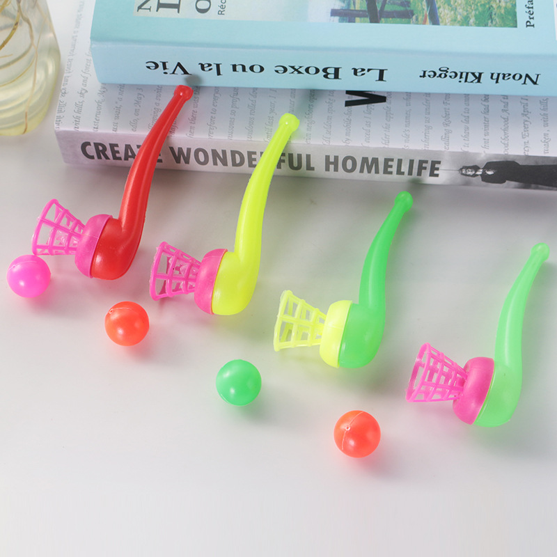 1PCS Traditional Classic Nostalgic Plastic Suspension Blow Ball Pipe Shape Blow Music Toys For Children