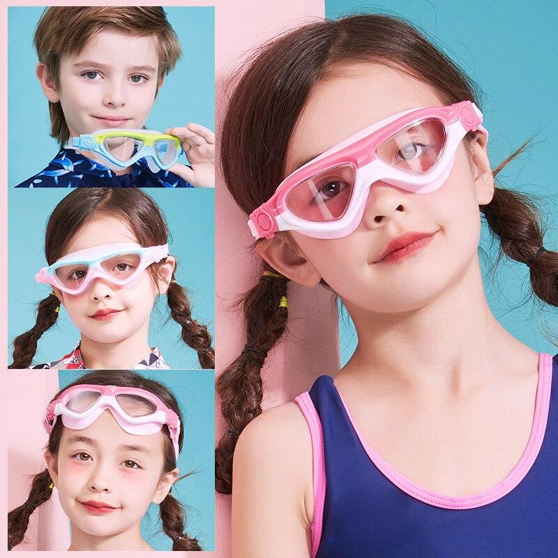CHILDREN'S Swimming Goggles Girls Big Box High-definition Waterproof Anti-fog Swimming Glasses Swimming Cap Set Kids BOY'S Swimm