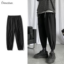 Onnestun Streetwear męskie spodnie nowości sportowe spodnie joggersy Hip hopowe klasyczne spodnie dresowe przyczynowe solidne cienkie spodnie na lato męskie tanie tanio Ołówek spodnie Kostki długości spodnie Mieszkanie REGULAR Poliester 0 - 0 Pełnej długości Lekki Suknem Kieszenie