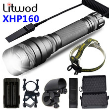 XHP160 Aluminum Hunting Tactical camping lantern WaterproofPowerful led flashlight zoom torch 5 Modes Light 18650 battery