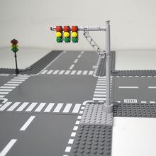 City Train Tracks Mini Signs Signal Lamps Model Street Light Tool Kits Traffic Warning Sign Building Block Baseplate Accessories
