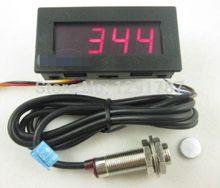 Sensor de proximidade dc 8-15 v npn + 4, tacômetro digital vermelho led medidor de velocidade 5-9999 rpm