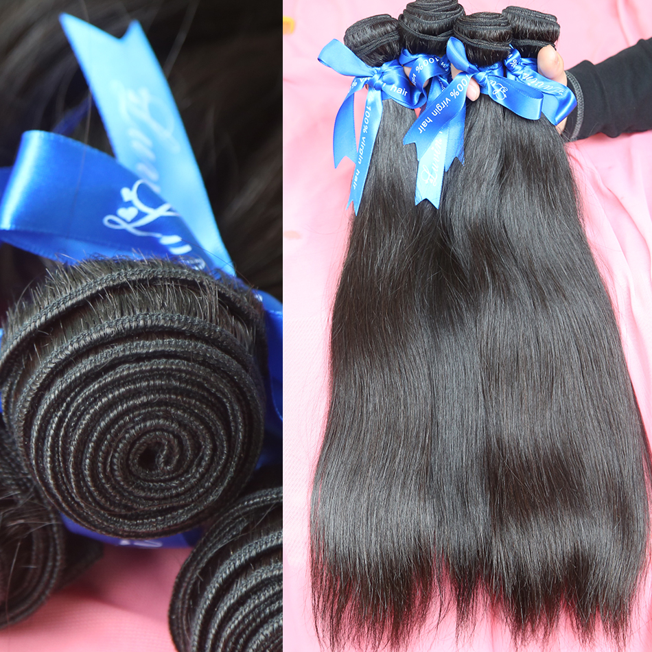 Luvin Straight 8- 28 Inch Brazilian Hair Weave Bundles Hair 3 Bundles 100% Remy Human Hair Extensions Natural Color  Bundles