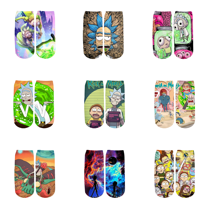 Newest Rick And Morty 3D Printed Cartoon Cute Short Ankle Socks For Men Women Harajuku Korean Socks  RS-004