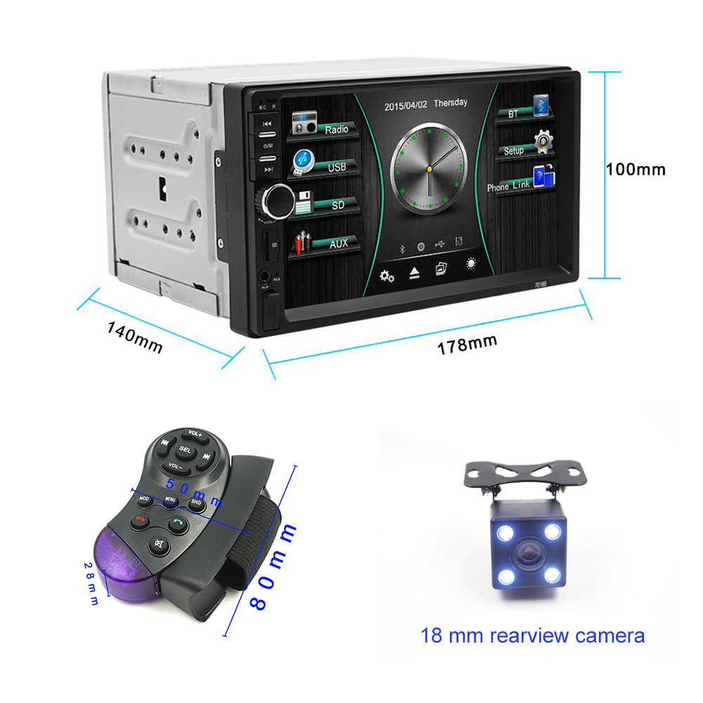 Carsanbo 2 Din 7 Inch Auto Radio Touch Screen Stereo Multimedia Speler MP5 Spiegel Link Android/Ios Bluetooth Fm sd Usb Aux Input