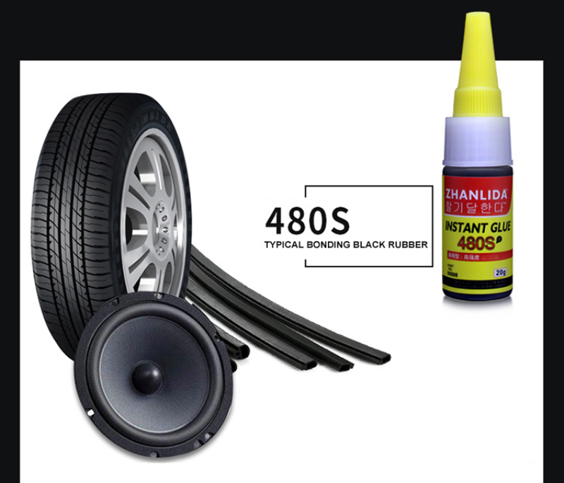 480S Black Super Glue Car Rubber Repair Tire Glue Window Speaker Seal Tire Repair Glue Mighty Tire Repair Glue
