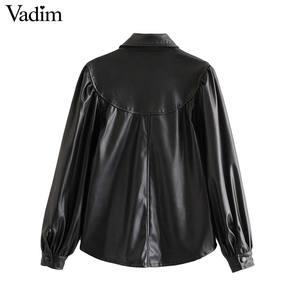 Image 2 - Vadim 女性エレガントな pu レザーブラウスロングランタンターンダウン襟シャツ女性の基本的なシックなトップス blusas LB738