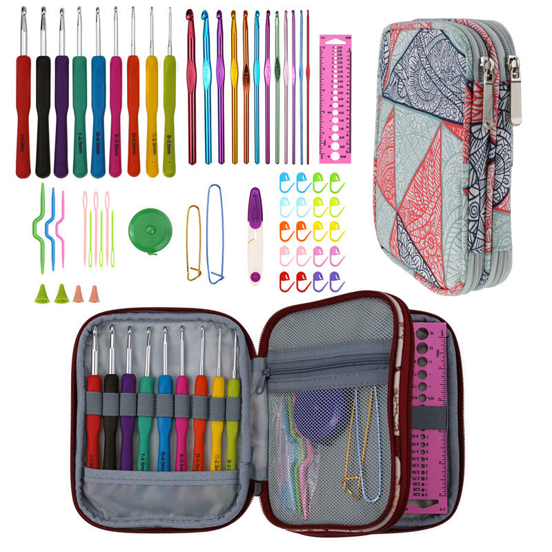 Image 5 - Geometric Style Storage Bag With Crochet Hook Set For DIY Weave Clothes Empty Yarn Bag For Crochet Hooks And Knitting Needles-in DIY Knitting from Home & Garden