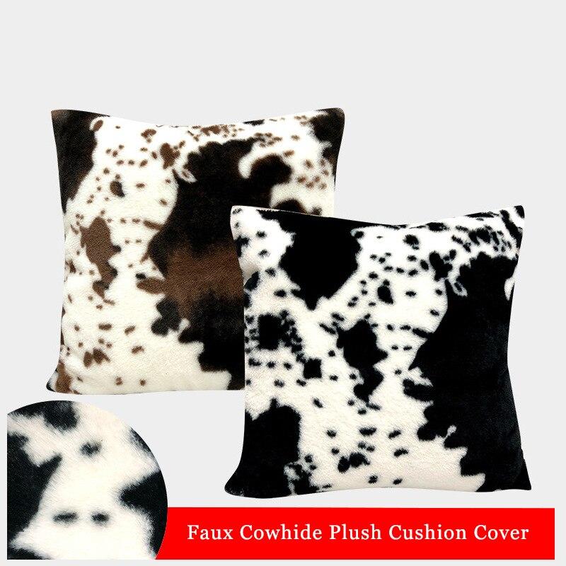 Decoração da casa conjunto de capa almofada do sofá da pele do falso imitação fronha padrão animal pelúcia almofada assento do carro 45x45cm