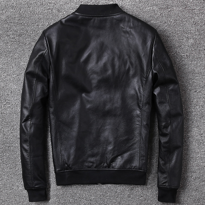 Genuine Leather Jacket Men Real Cow Leather Bomber Jackets Spring Autumn Motocycle Plus Size Streetwear 2020 MF147