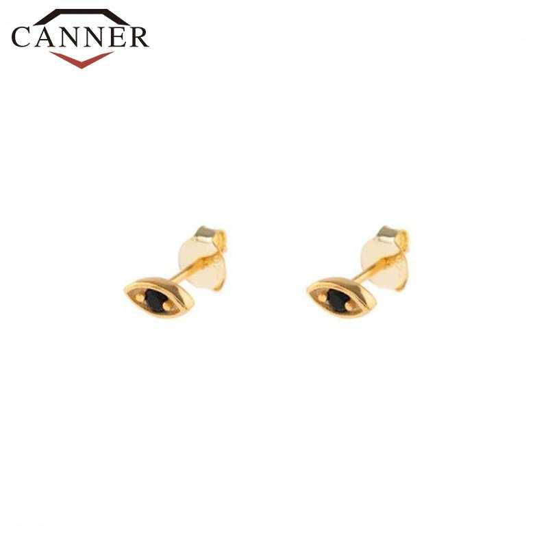 Pendientes de plata de ley 925 con tachuelas para mujer, pendientes de circonita de cristal con ojos pequeños de Color dorado y plateado, joyería minimalista