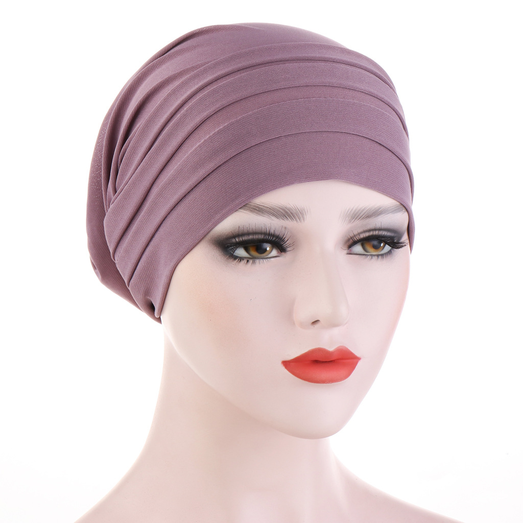 2020 New Spring Candy Color Turban Cap Chemotherapy Headband Forehead Pile Hat Muslim Headscarf Women Hair Accessories