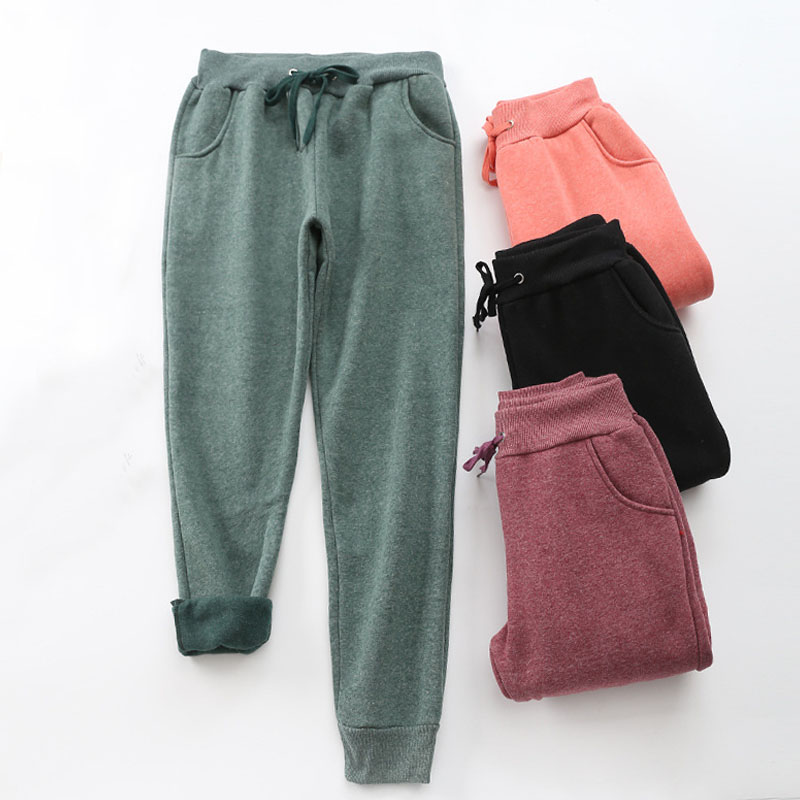 2020 Winter Solid Color Ladies Pants Thick Lambskin Cashmere Warm Women's Casual Loose Harem Trousers Large Si