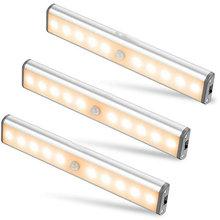 10 LEDs PIR  Motion Sensor Light Cupboard Wardrobe Bed Lamp  Under Cabinet Night Light For Closet Stairs Kitchen