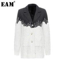 [Eam] ルーズフィットコントラストカラーニット分割ウールコートパーカー新長袖女性ファッションタイド春秋2020 JZ248